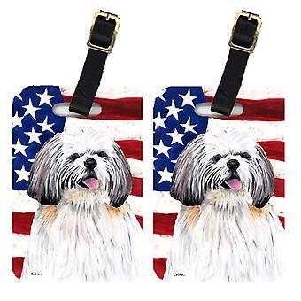 Par i USA amerikanska flaggan med Shih Tzu bagagebrickor