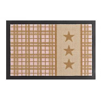 Deurmat vuil overlapping pad star Plaid beige roze 40 x 60 cm