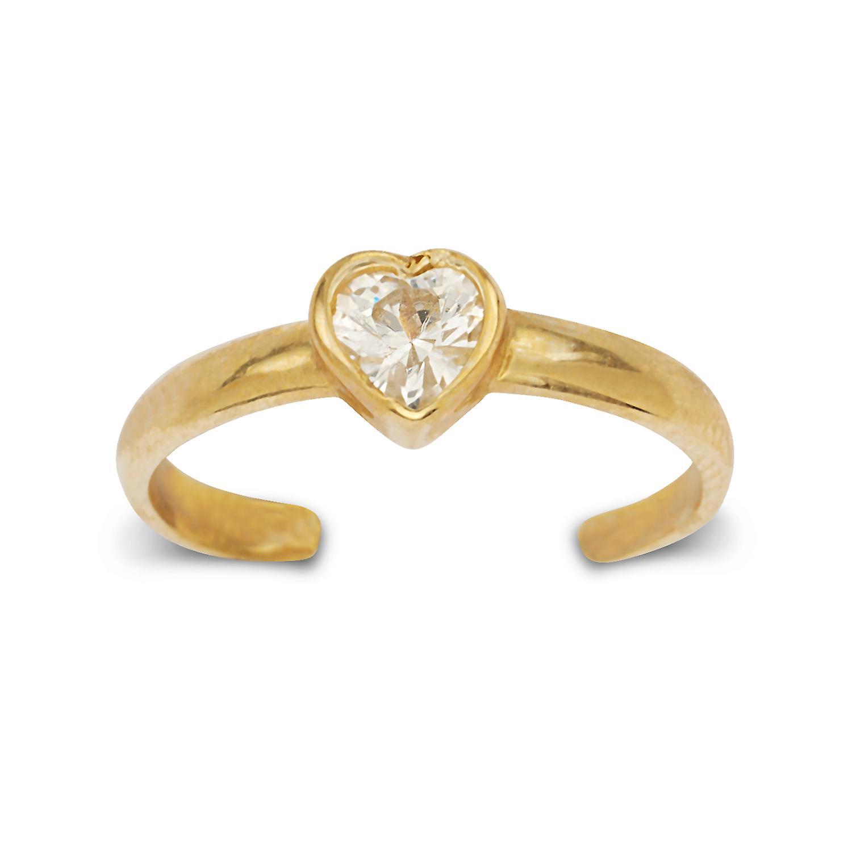 14k jaune or Cubic Zirconia Adjustable Elegant Heart Shape Body Jewelry Toe Ring