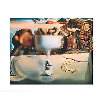 Erscheinung von Gesicht und Obstteller auf einem Strand Poster Print von Salvador Dal (30 x 24)