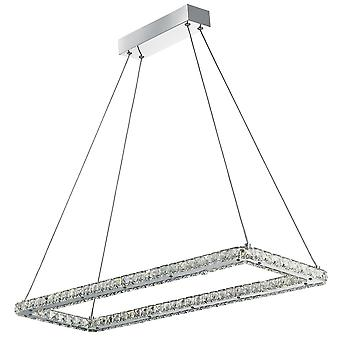 Searchlight 7012CC Crystal Glass LED Ceiling Pendant Light in Chrome