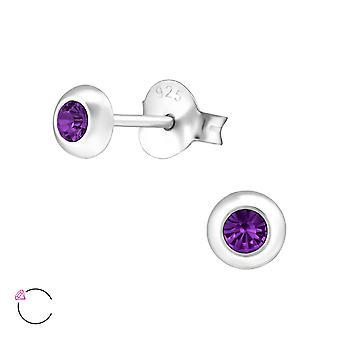 Cristal redondo de Swarovski® - zarcillos plata 925