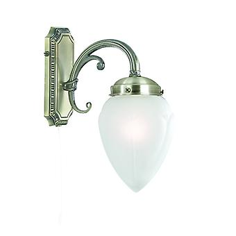 Regency Antique Brass Wall Light With Acid Glass Shade - Searchlight 1991-1ab