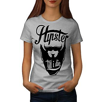 Hippie Beard Vintage Women GreyT-shirt | Wellcoda