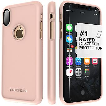 SaharaCase caso del iPhone X Rose Gold, dBulk paquete de Kit de protección con vidrio templado de ZeroDamage