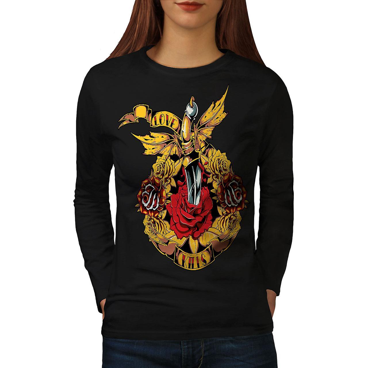 Love Kills Valentine Rose femmes noirLong Sleeve T-shirt | Wellcoda