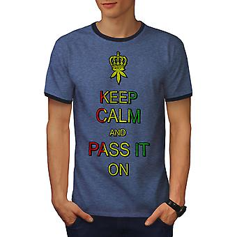 Keep Calm Weed Pot Rasta Men Heather Blue / NavyRinger T-shirt | Wellcoda