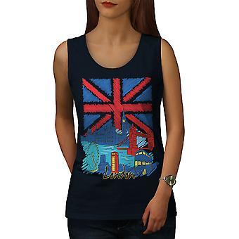 England London Flag britiske kvinder NavyTank Top | Wellcoda