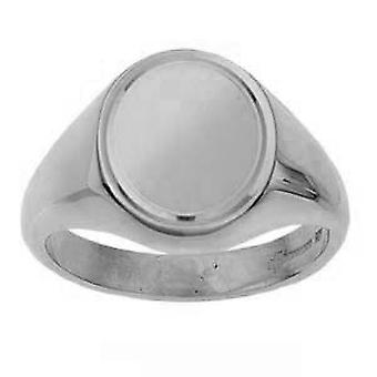 Silver 16x14mm engine turned line border solid oval Signet Ring Size Y