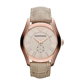 Emporio Armani Mens Watch Rose Gold PVD Case Pink Dial Cream Strap AR1667