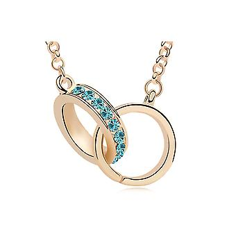 Sautoir necklace Swarovski Elements Blue Crystal cuffs and gold plate
