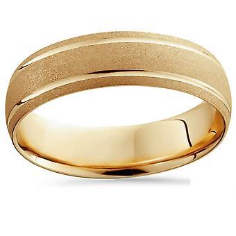 14K Gelb Gold Herren gebürstetem Kuppel Doppellinie Hochzeitsband 6mm