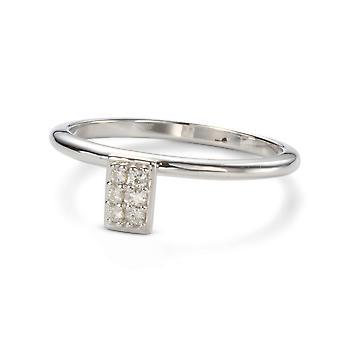 Siempre clásico 1.4mm Moissanite gota anillo Pave de rectángulo