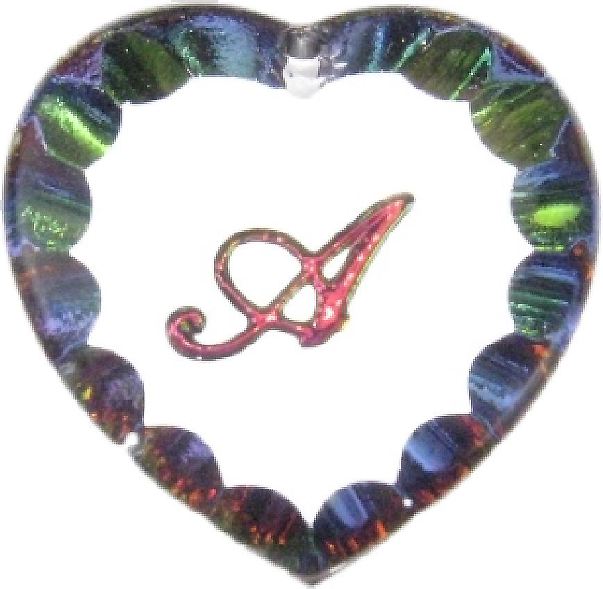 Heliotrope Initial Heart Crystal Pendant - Q