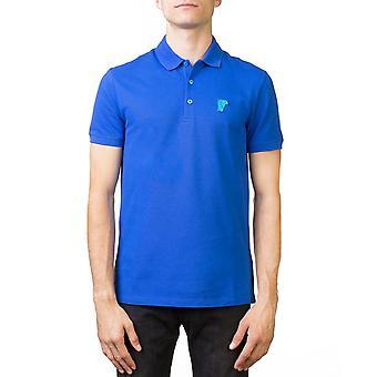 Medusa Logo Versace Collection masculine Regular Fit Pique Polo Shirt bleu