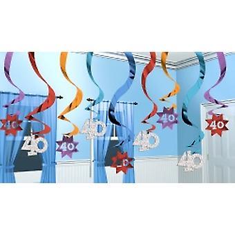 40 Hanging Swirl Party Decoration Continue 15 cordes (Quantité 1)