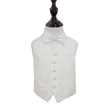 Ivory Scroll Wedding Waistcoat & Bow Tie Set for Boys