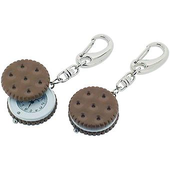 Gift Time Products Sandwich Biscuit Clock Key Ring - Silver/Brown