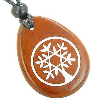 Tree of Life Circle King of Solomon Star Believe Amulet Red Jasper Totem Gem Stone Necklace Pendant