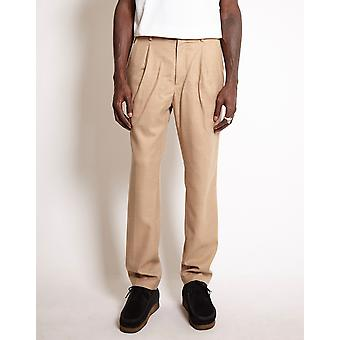Saturdays NYC Gordy Wool Tapered Loose Fit Trousers Tan