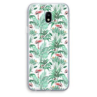 Samsung Galaxy J3 (2017) Transparent Case (Soft) - Flamingo leaves