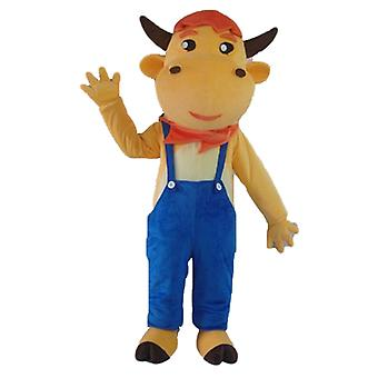 Brown cow SPOTSOUND mascot, in blue overalls