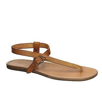 Handmade tan leather thong sandals for men