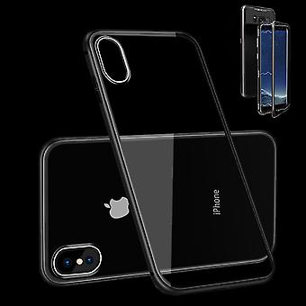 For Apple iPhone XR 6.1 inch magnetic metal / glass case bumper black / transparent case cover new
