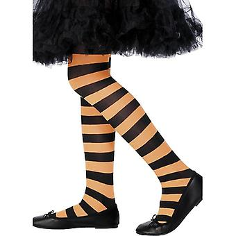 Tights, Orange & Black, Medium/Large Age 8-12