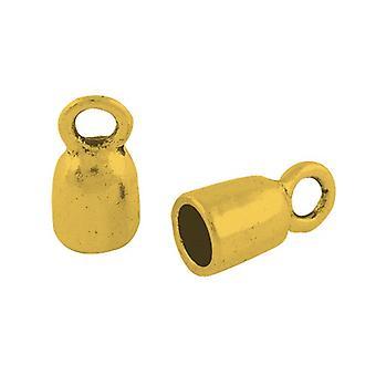 Packet 10 x Golden Tibetan Barrel End Caps 8 x 17mm HA12000