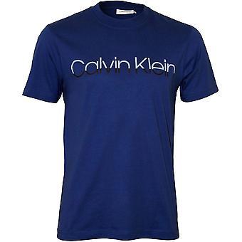 كالفين كلاين شعار نغمتين الطاقم-رقبته تي شيرت, أزرق ملكي