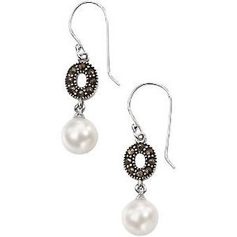 Elementen Marcasiet Crystal en imitatie Pearl Drop Earrings, 925 zilver