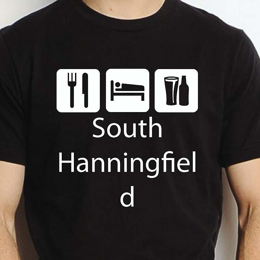 Eat Sleep Drink Southhanningfield Black Hand Printed T shirt Southhanningfield Town