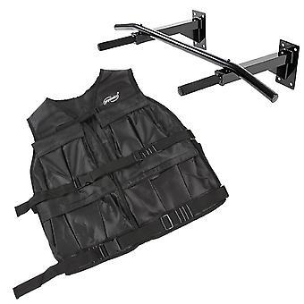 Kit fitness gilet lesté 19 5 kg + barre de traction fixation mural 0701118