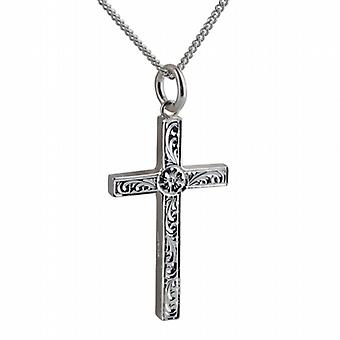 Silver 30x18mm victorian hand engraved solid block Cross with a curb Chain 24 inches