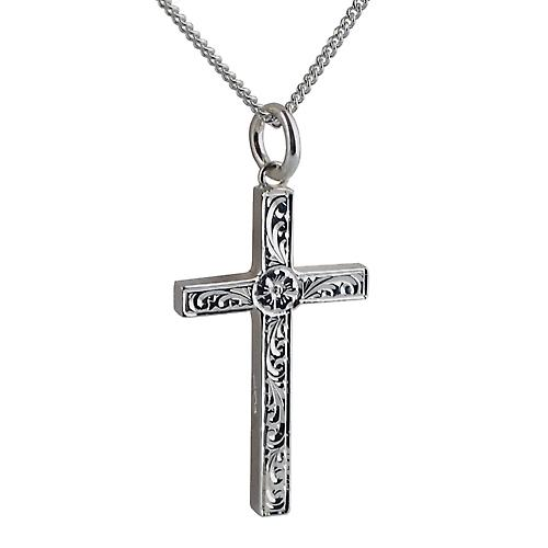 Silver 30x18mm victorian hand engraved solid block Cross with a curb Chain 18 inches