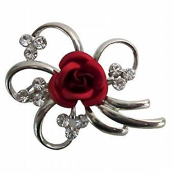 Valentine kake brosje sølv metall utsøkte Vintage rød Rose brosje