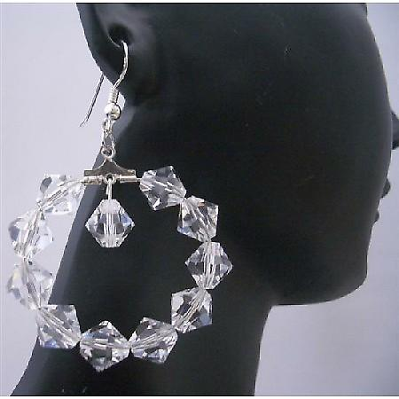 Clear Crystal Hoop Earrings Sterling Silver Chandelier Earrings
