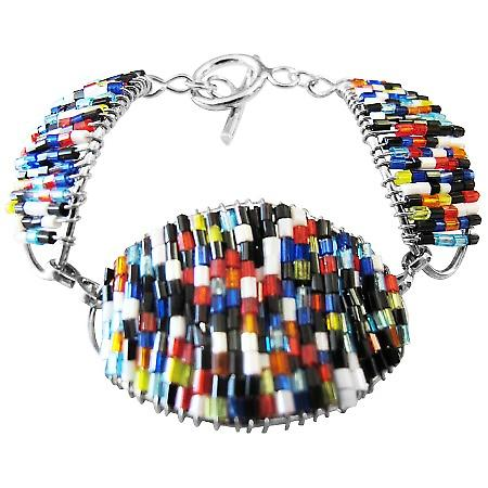 Multi Colored Glass Beads Pipe Shaped Bracelet Fabulous Bracelet