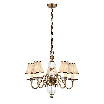 Tilburg Antique Brass Five Light Ceiling Pendant With Beige Shades - Interiors 1900 70819