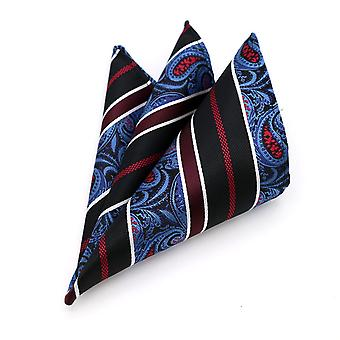 Burgundy white & blue paisley patterned pocket square