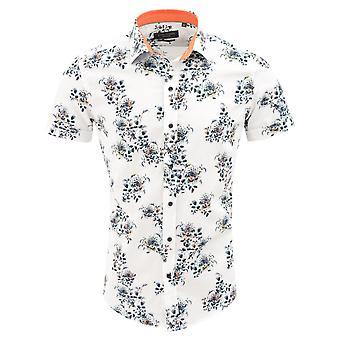 Guide London Luxurious White Cotton Floral Print Mens Short Sleeve Shirt