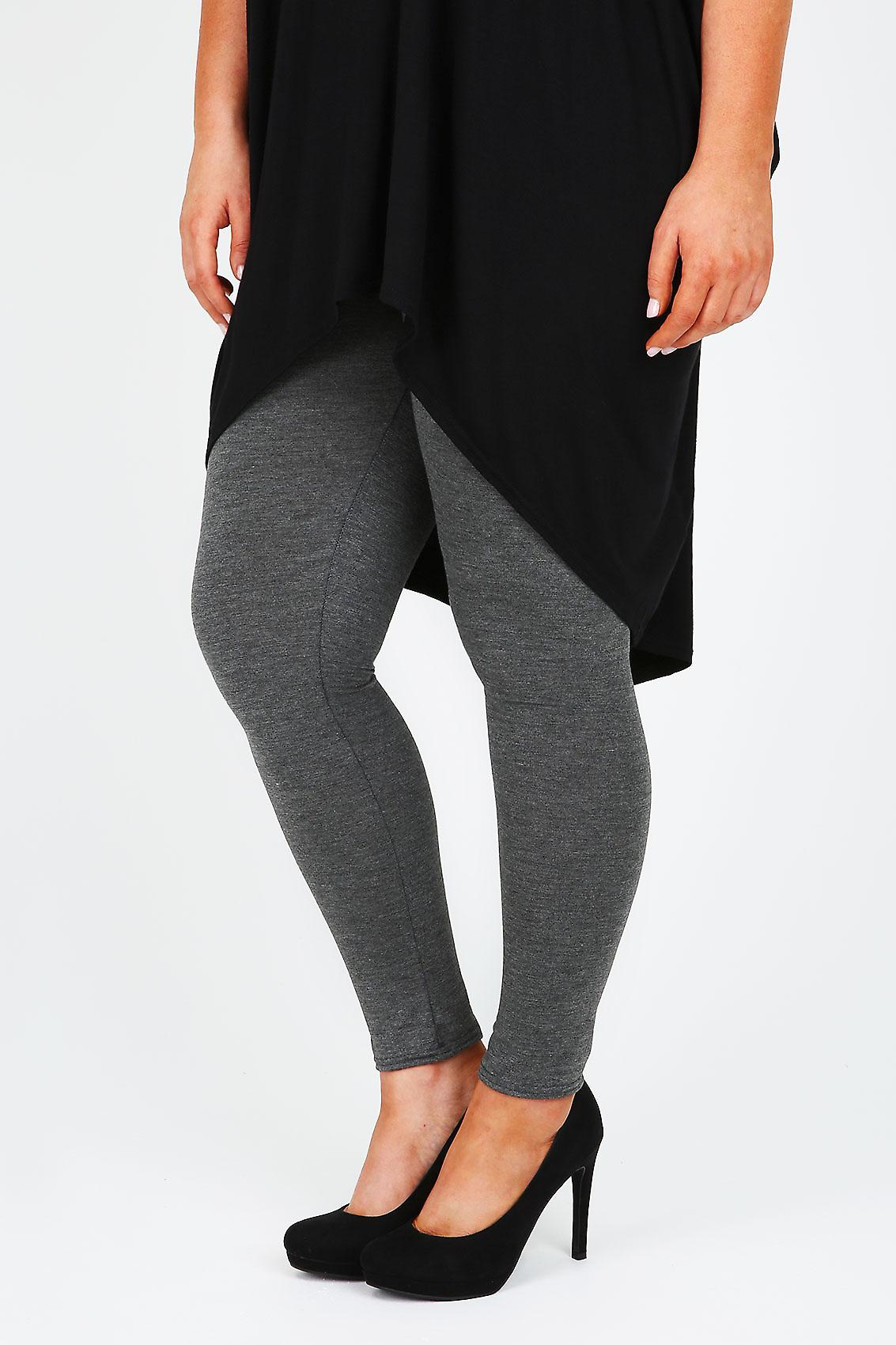 Charcoal Grey Full Length Polyester Elastane Leggings