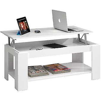 Lokki Glossy White Lokki    Adjustable Coffee Table With Built-In Magazine Rack
