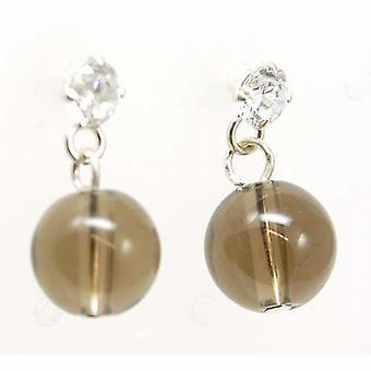 The Olivia Collection Sterling Silver Smokey Quartz Brown Drop Earrings