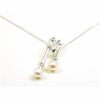 Toc Sterling Silver and Pearl Cz Set Loop Pendant on 18 Inch Chain