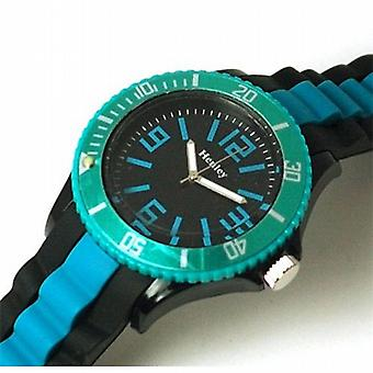 Henley Gents Black And Turquoise Rotating Sports Watch