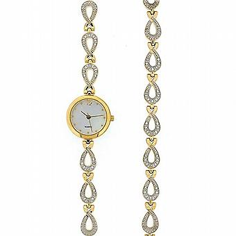 Ladies Crystal Gold Tone Watch and Bracelet Gift Set GOTW94