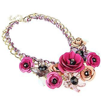 Krystal blomst vedhæng halskæde erklæring chunky krave gave
