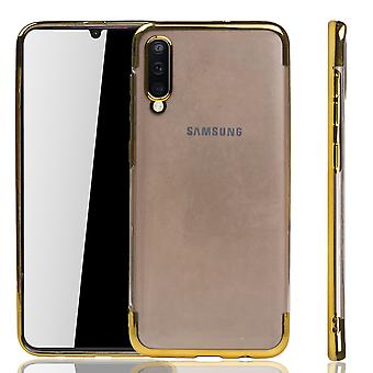 Funda de teléfono para Samsung Galaxy A50 Gold-Clear-TPU Funda protectora backcover en transparente/Shining Edge Gold